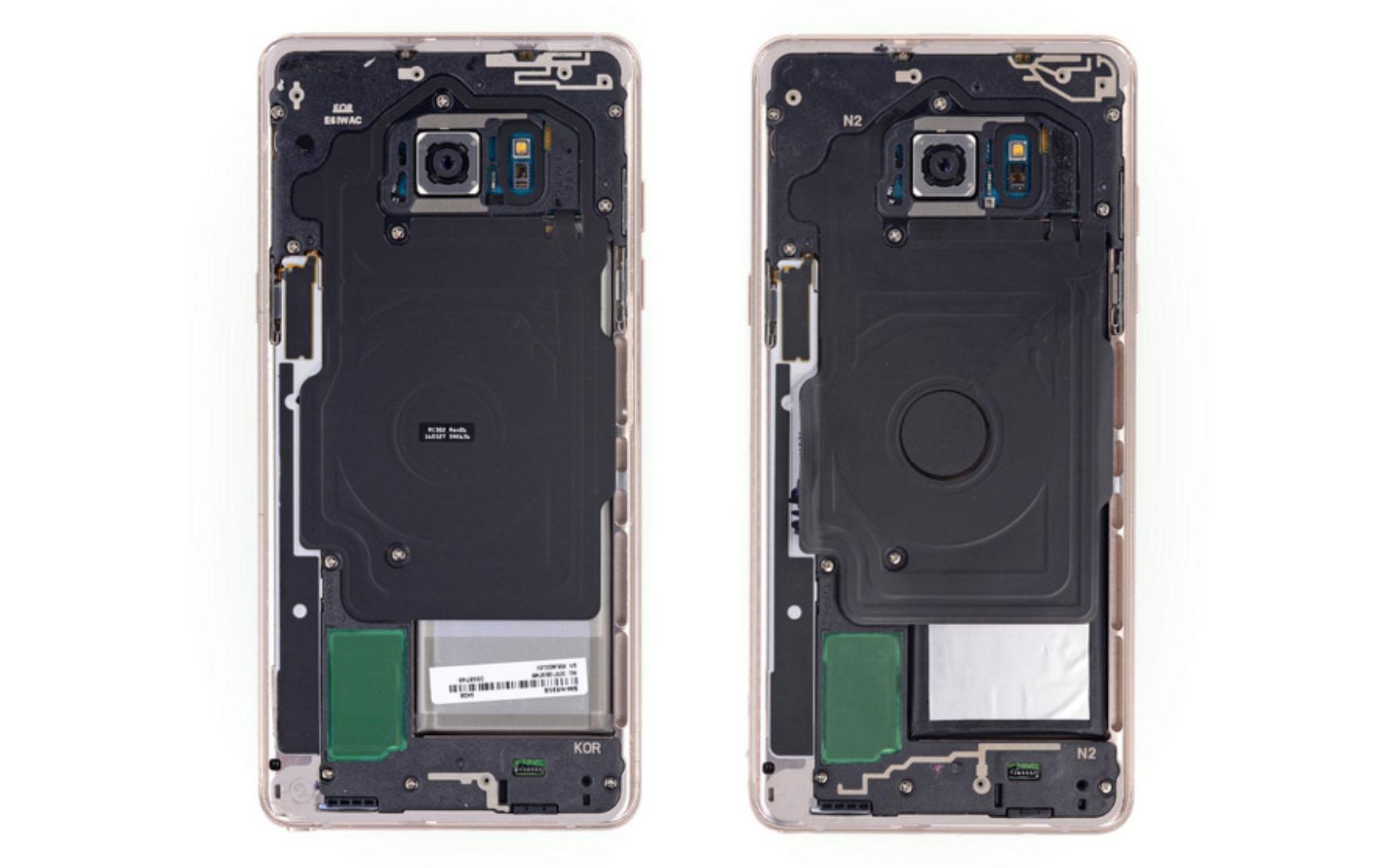 Demonteringen av Galaxy Note Fan Edition viser at den er helt like Note 7 - utenom batteriet.
