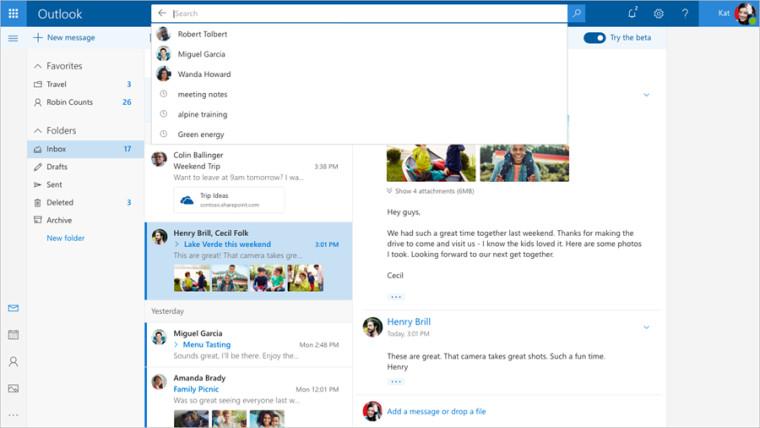 Outlook.com får et renere design.