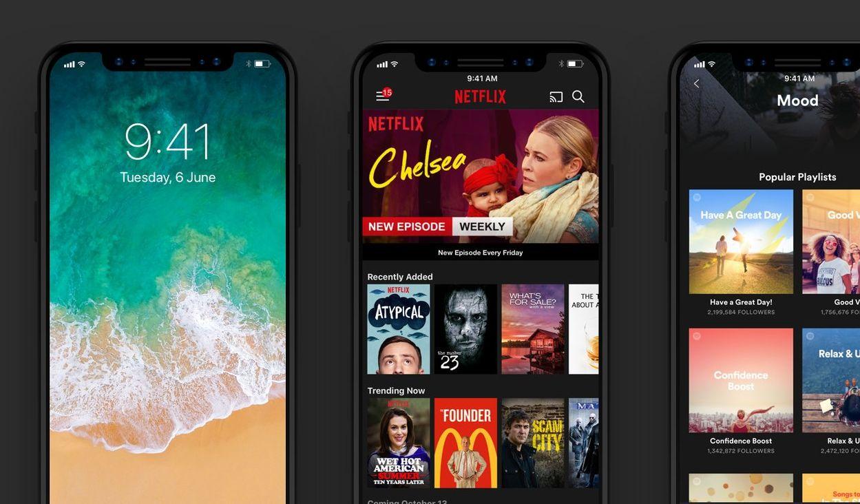 Låsskjerm og app-grensesnitt.