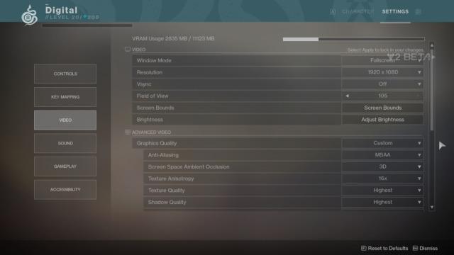 Grafikkinnstillingene i spillet.