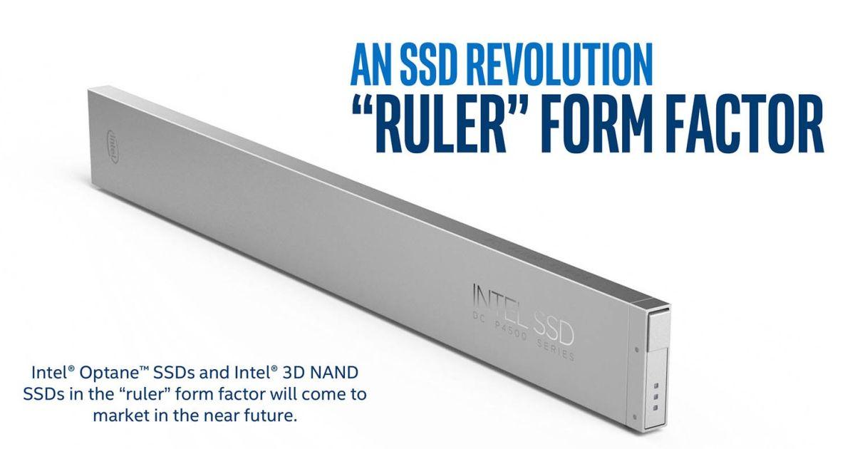 Intel viser avduker linjalformede SSD-er.