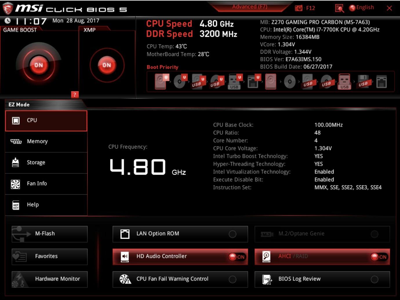 """EZ Mode. Her ser du informasjon om CPU, men kan ikke endre på innstillinger utover """"Game Boost""""."""