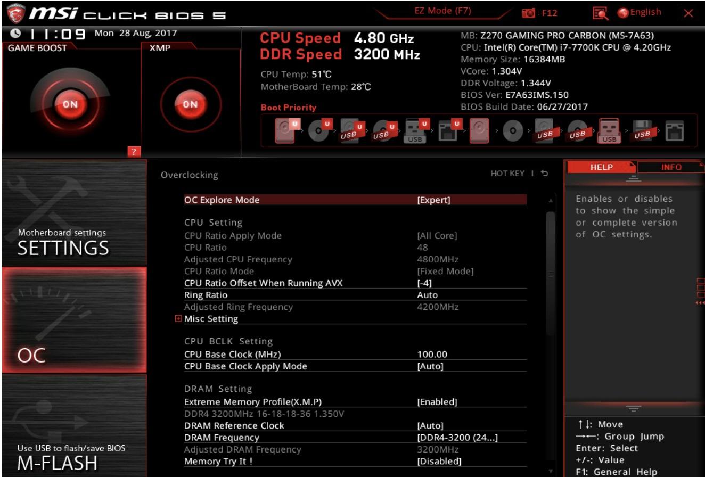 Her er CPU-delen i avansert modus. Man får opp samme informasjon som over, men i et mer avansert format og her kan man også endre på innstillingene som en selv vil.