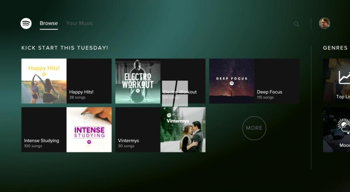Spotify til Xbox One har støtte for bakgrunnsavspilling..