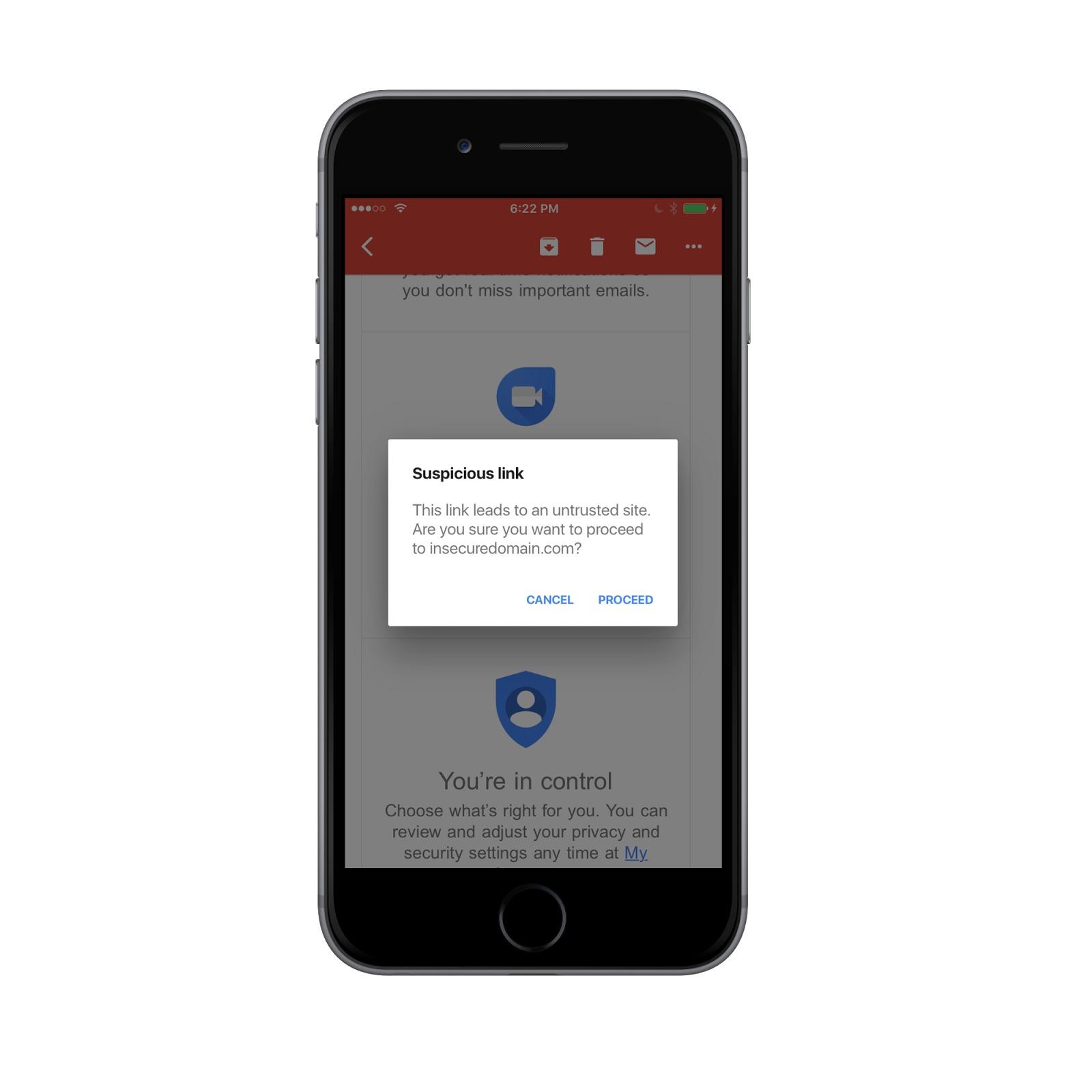 Gmail-appen advarer iOS-brukerne om mistenkelige sider.