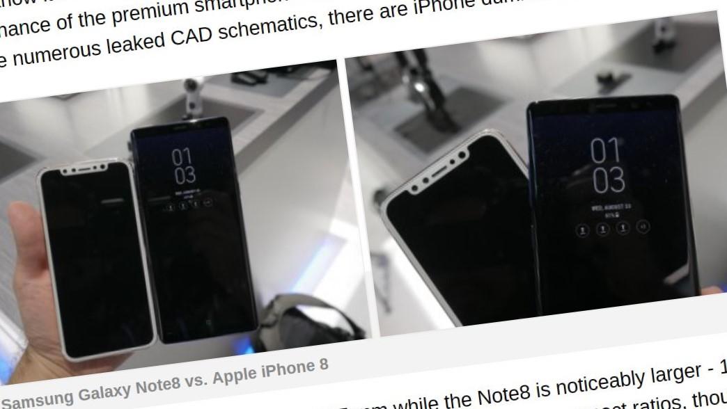 Note 8 og iPhone 8.