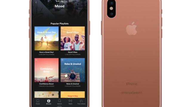 Den nye kobberfargen som kanskje lanseres i kombinasjon med den store iPhone 8-skjermen og Spotify.