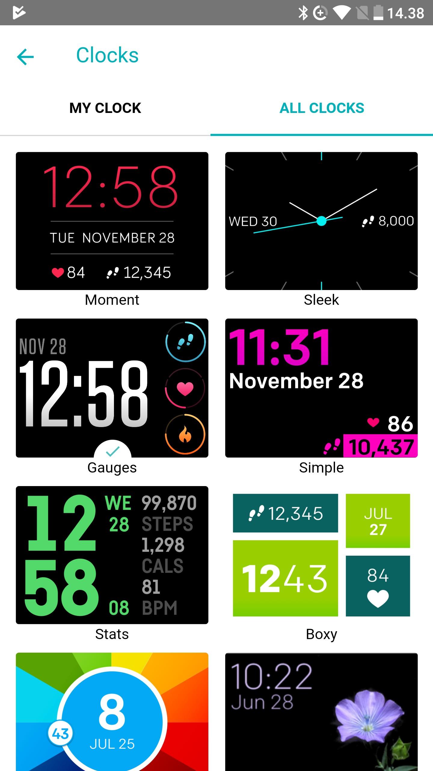 I appen endrer du klokkeansikt.