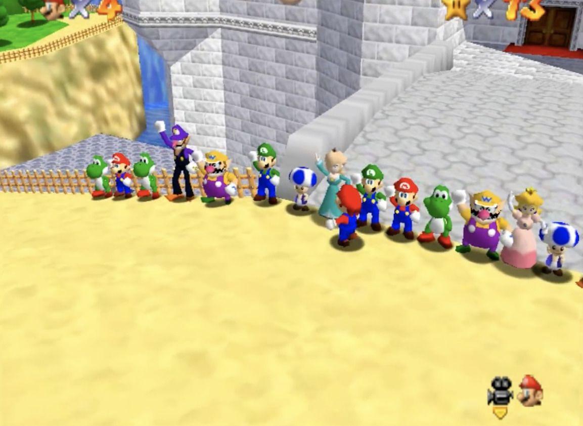 Nå kan du samle hele gjengen og litt til i Super Mario 64.