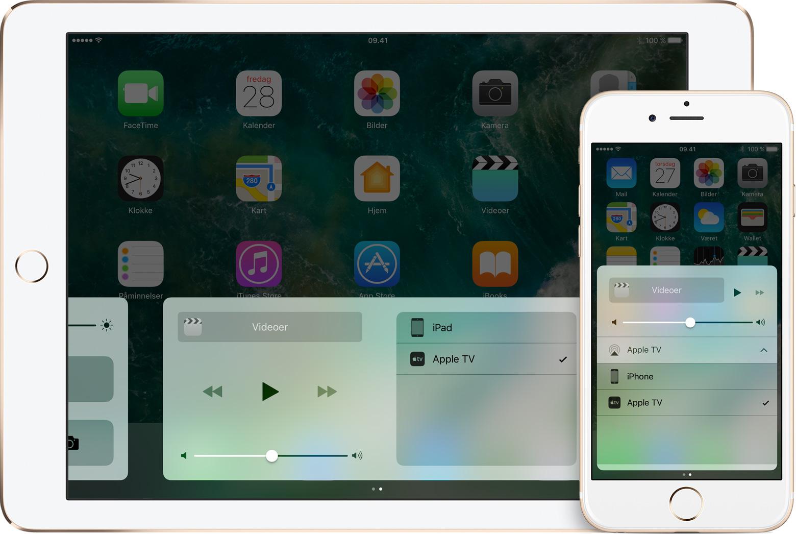 AirPlay 2 fungerer ikke som forventet. Bildet er fra AirPlay i iOS 10.