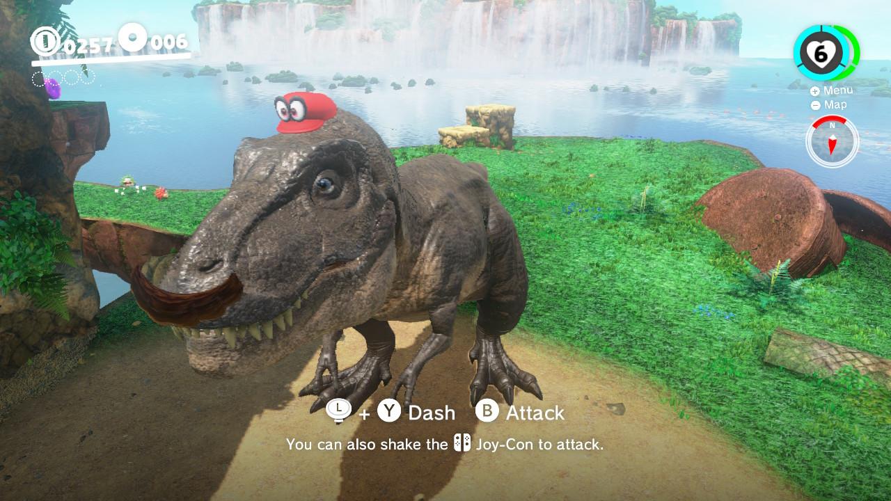 Dinosauren har selvsagt bart når Mario styrer showet.