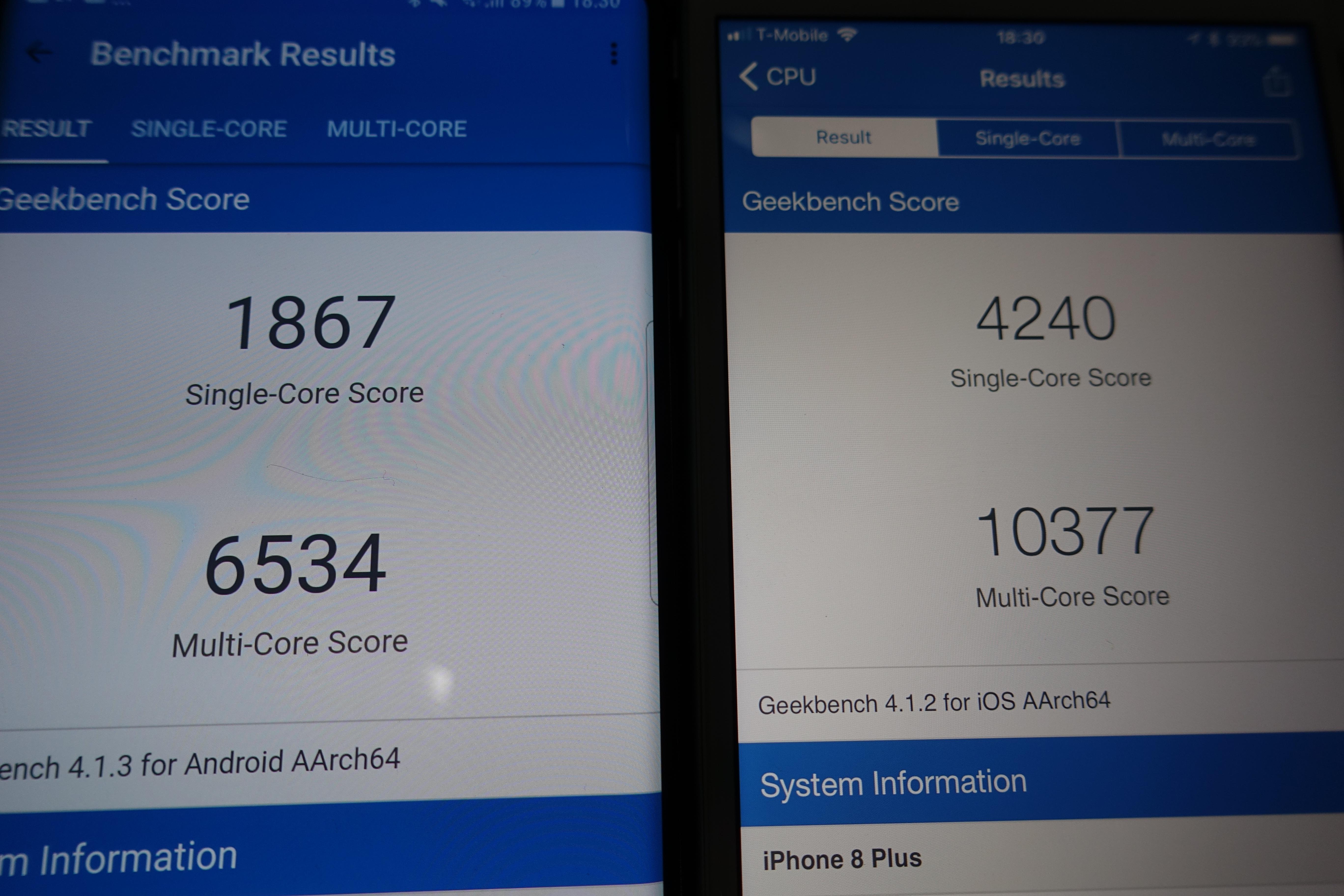 """Apples iPhone 8 Plus har best ytelse i GeekBench, men ved bruk føles ikke forskjellene like store som tallene skulle tilsi. Legg merke til """"True Tone""""-panelet."""