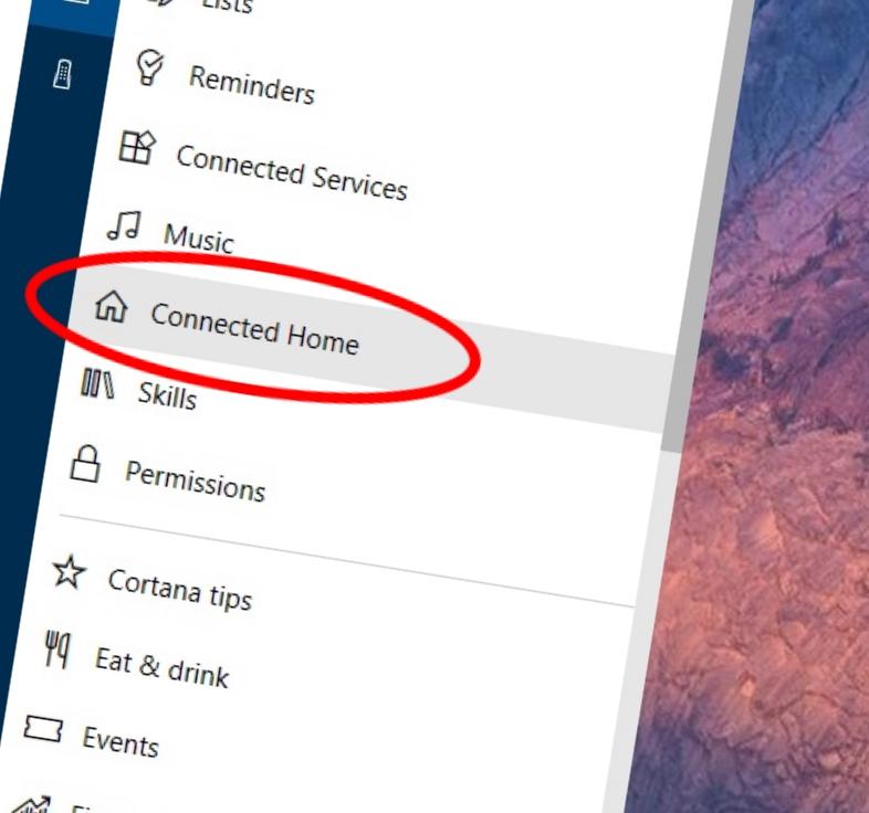 """Åpne """"Cortana Notebook"""" på en Windows 10 PC og koble til de tjenestene du ønsker herfra."""