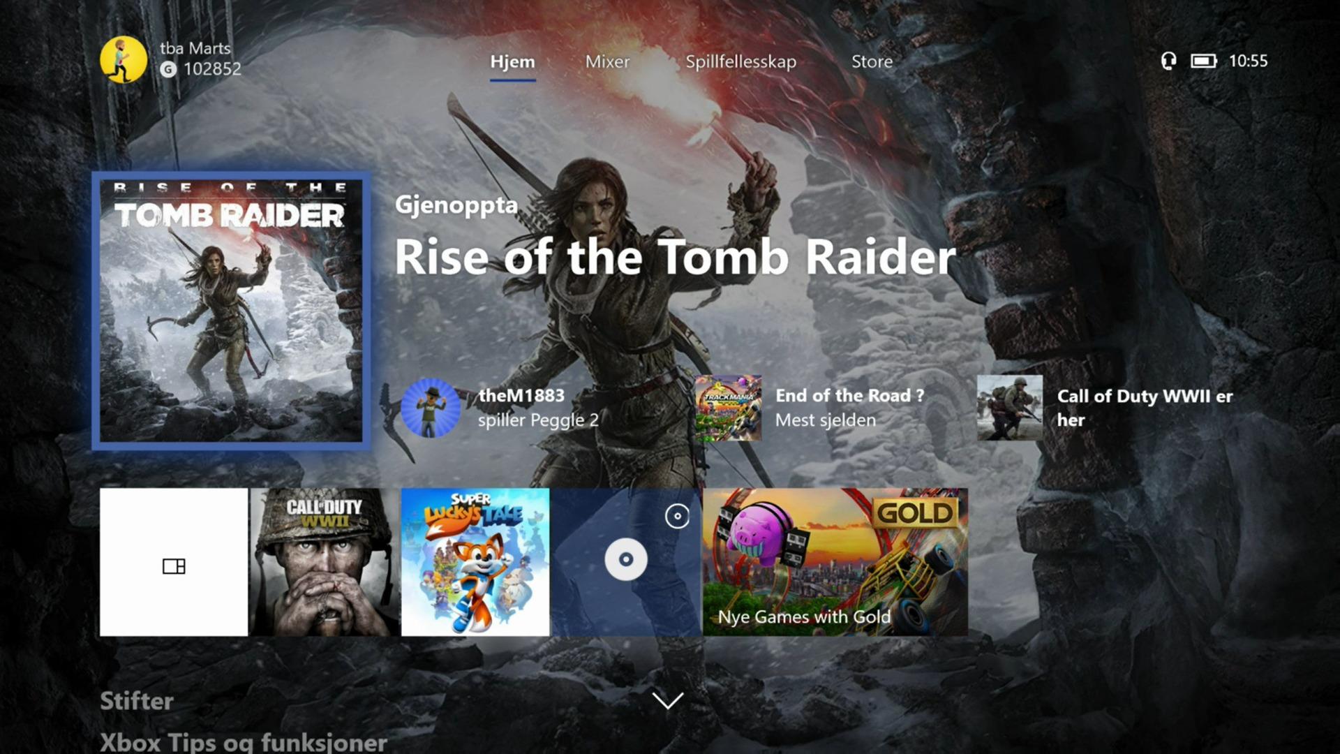 Slik er hjemskjermen etter Fall Creators Update.