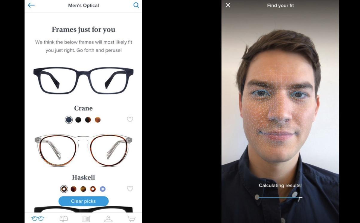 Face ID, som kun er å finne på iPhone X, måler ansiktet svært nøyaktig, langt bedre enn bare et kamera og AR-programvare, og kan derfor gi kunden en bedre oversikt over hvilke briller som passer.