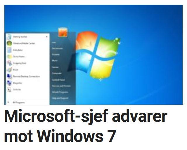 Microsoft oppfordrer brukerne om å oppgradere.