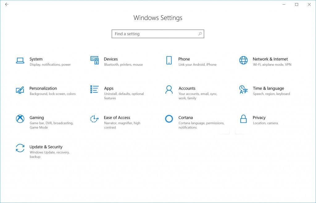 Kontrollpanelet har også Fluent i den nye beta-versjonen.