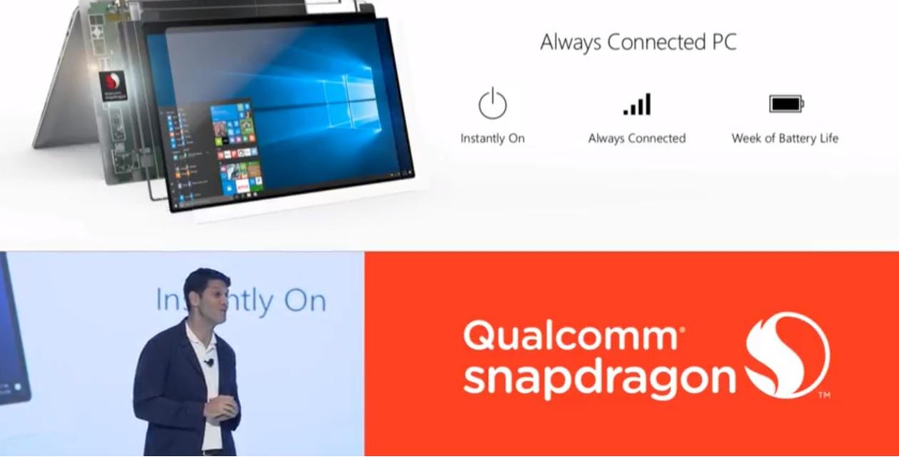 Microsoft tester internt Windows 10-enheter med Snapdragon. Microsofts Terry Myerson skryter her av at han ikke behøvde lade den på en uke.