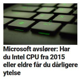 Microsoft bekrefter at brukere vil oppleve ytelsestap.