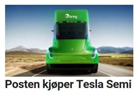 Posten Norge har bestilt Tesla.