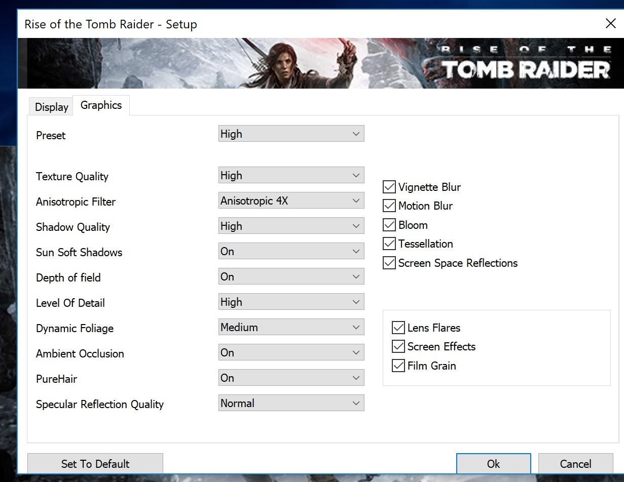 Rise of the Tomb Raider standard grafikkinnstillinger.