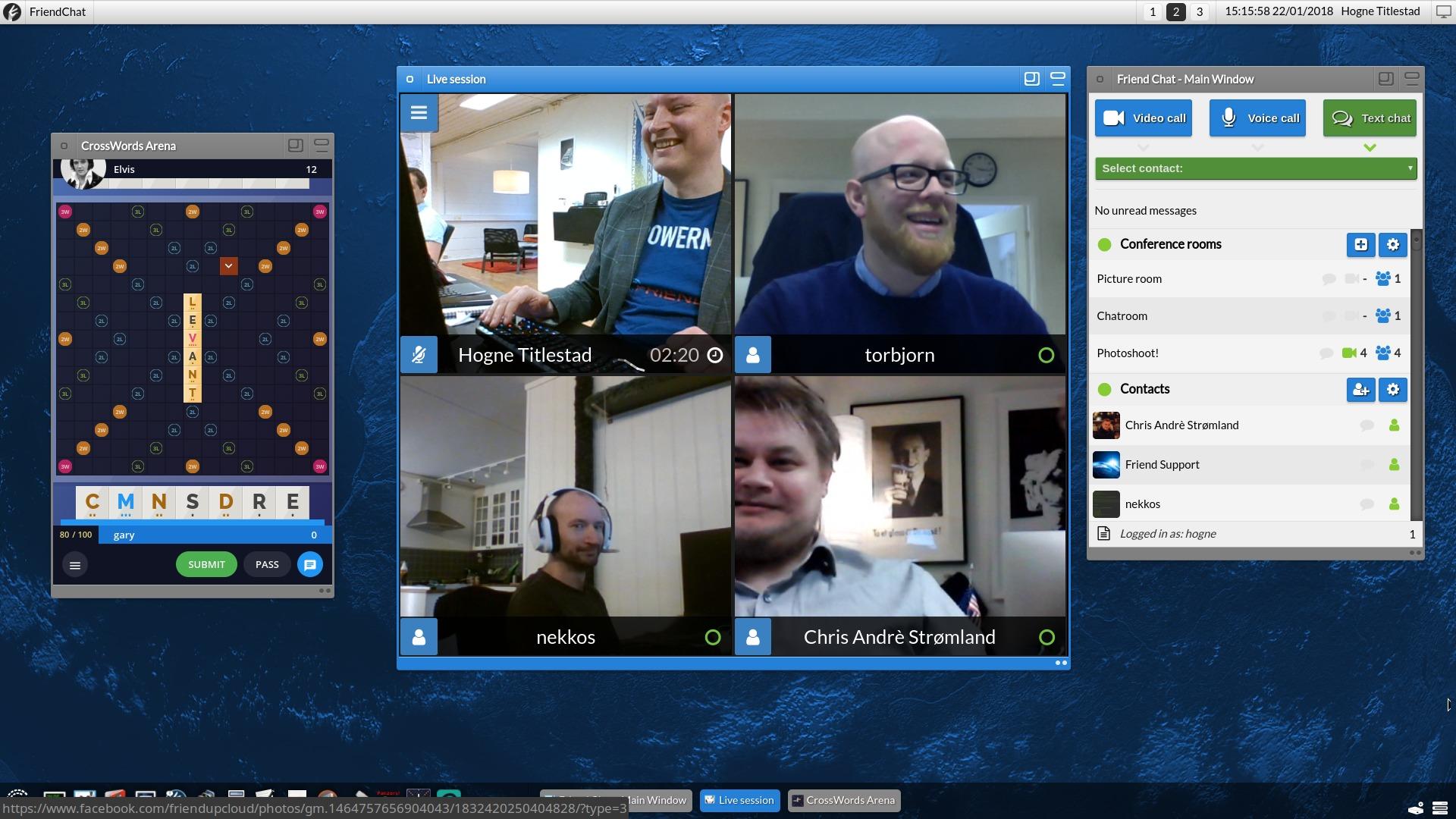 Video-konferanse appen Friend Chat er integrert i Friend og tilbyr samhandling.