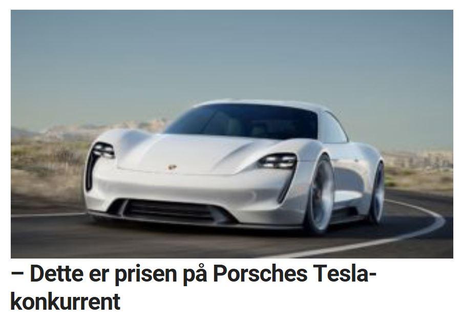 Porsches første elbil kommer i 2019.