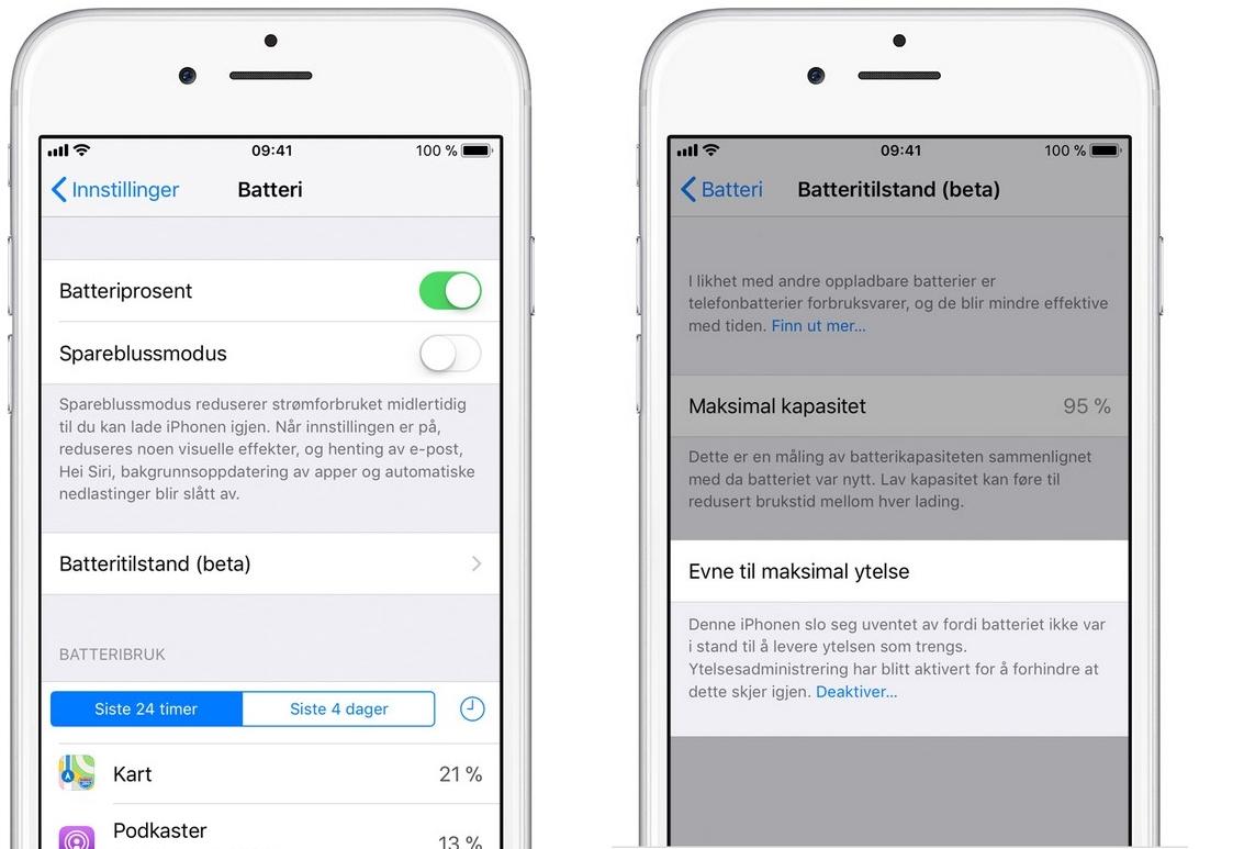 Apple har bekreftet ovenfor politikerne i Washington at de nedjusterte ytelsen på eldre iPhone-modeller uten å forklare dette i programvareoppdateringen. For å deaktivere se nederst i skjermbildet til høyre.