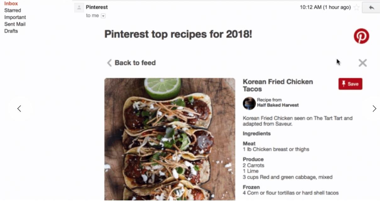 Pinterest sin AMP for Email-løsning gjør det mulig å lagre innhold og gå tilbake til Pinterest-oversikten, rett i eposten.