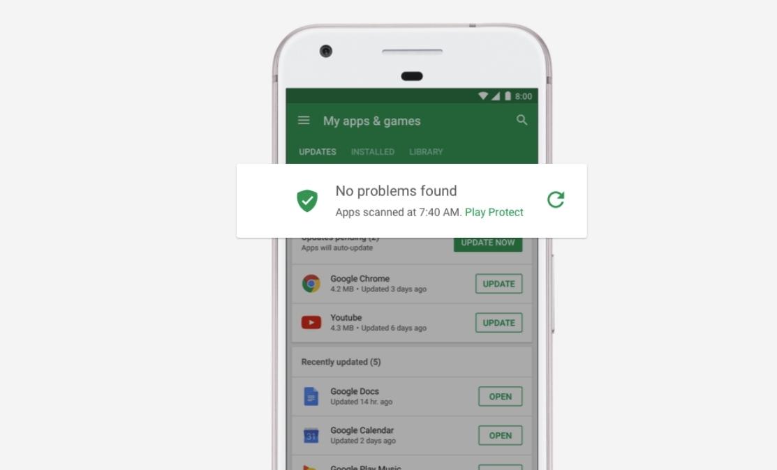 Google Play Protect stopper skadevare og skal bli bedre i år samtidig som sikkerhets-oppdateringstakten av eldre Android-enheter skal forbedres i 2018.