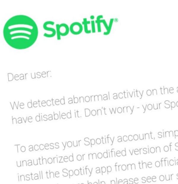 Spotify sender brev til brukere som nytter modifiserte versjoner av strømme-klienten for å lure til seg betalversjoner.