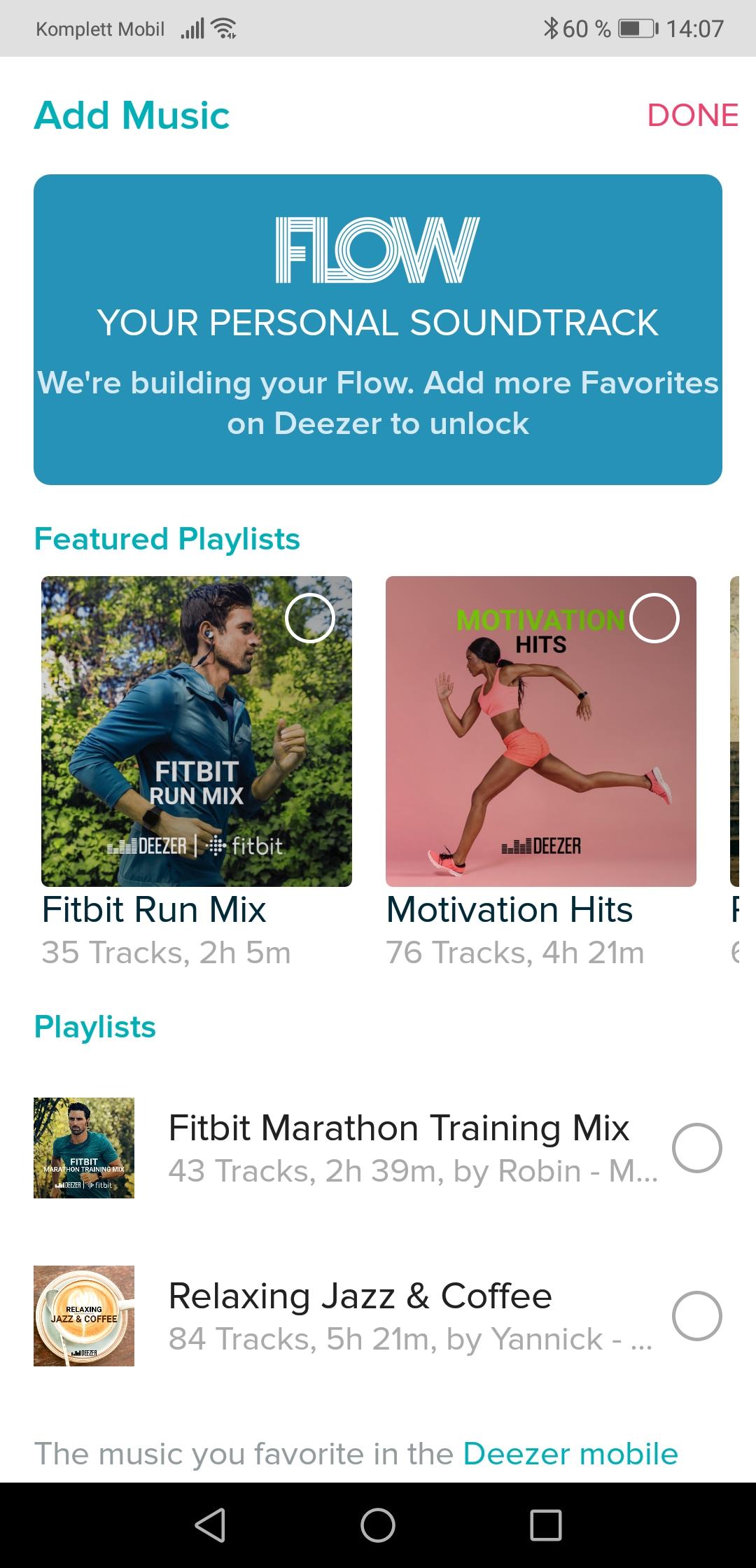 Deezer har flust av treningsfokuserte spillelister.