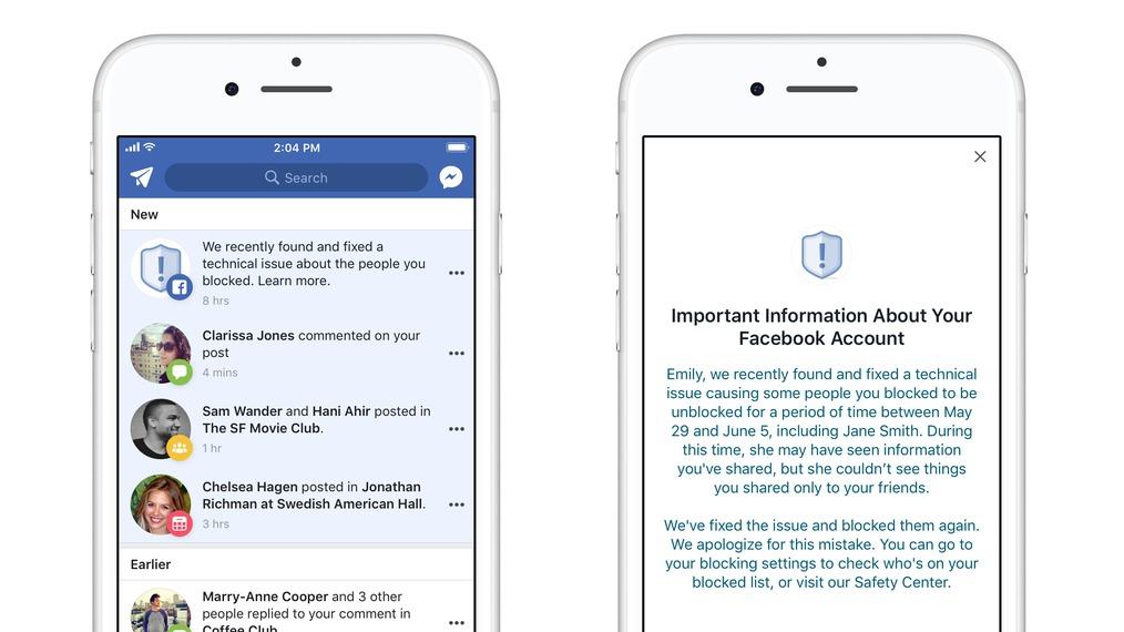 Facebook-brøler førte til at personer fikk meldinger av blokkerte brukere.