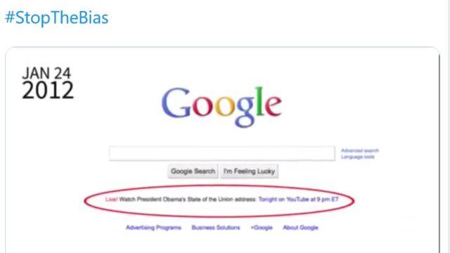 President Donald Trump hevder Google ikke promoterte talene hans.