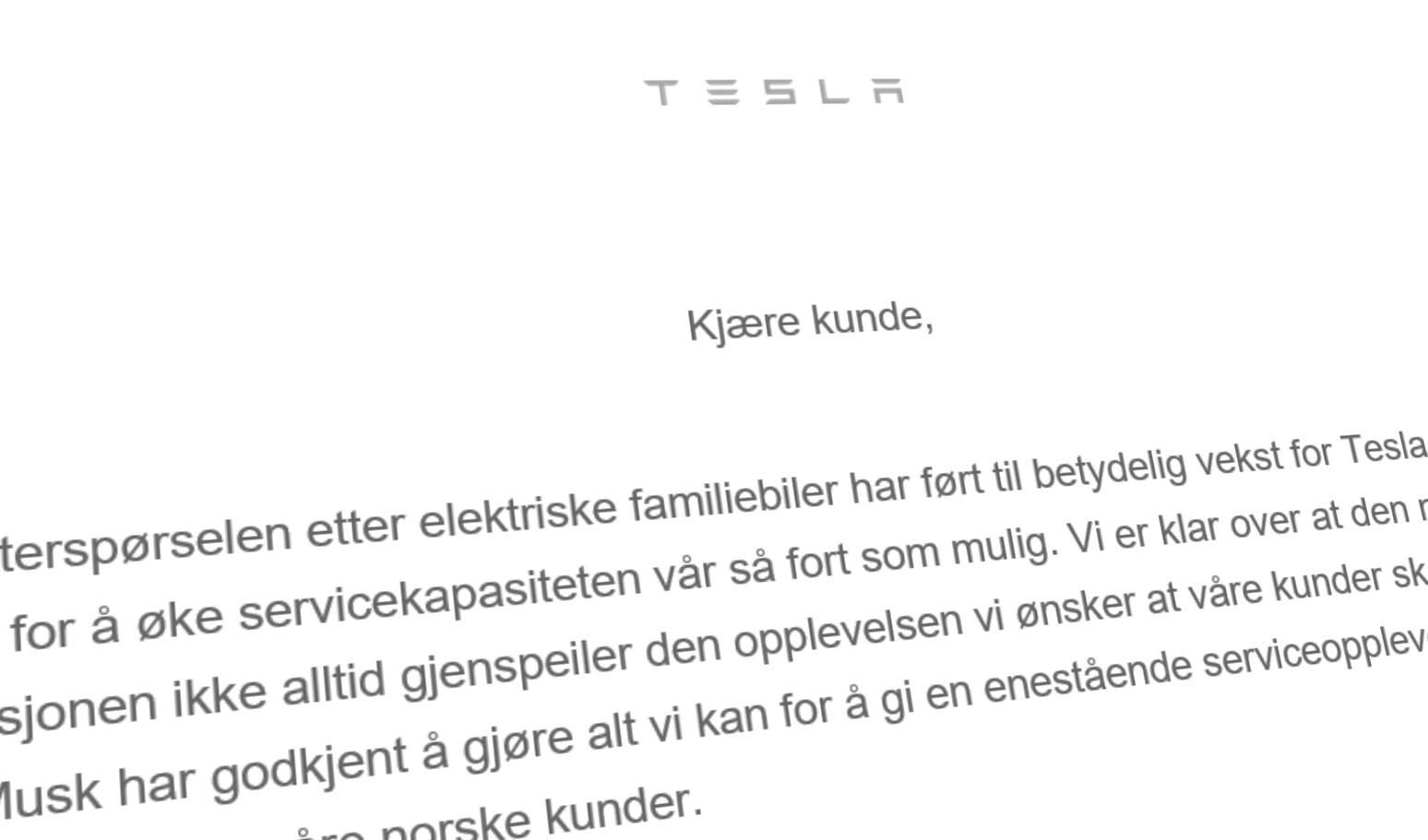 Her er brevet Tesla sender sine norske kunder