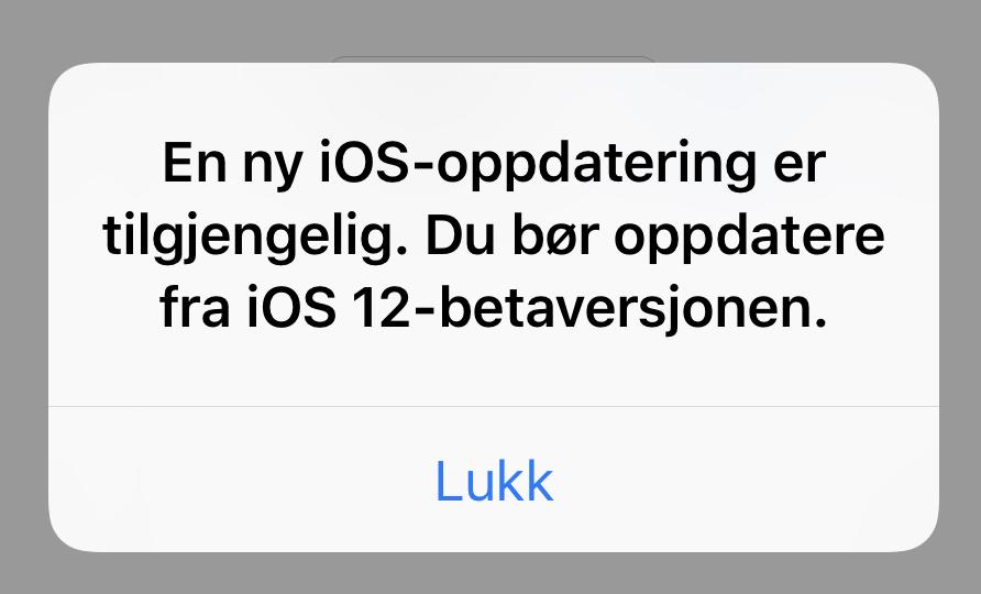 Denne meldingen plager vettet av iOS beta-testere.