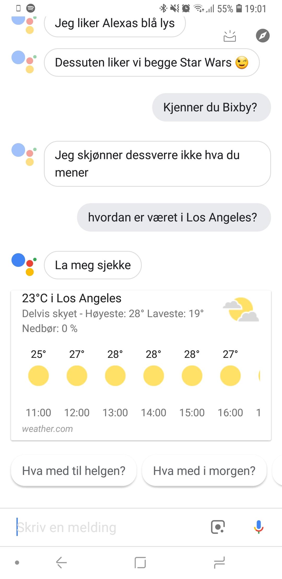 Assistant forteller deg selvsagt hvordan været er i Los Angeles.