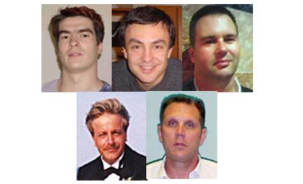 SPAMMERE: Her er fem av de verste spammerne i verden. To russere, to amerikanere og en canadier.