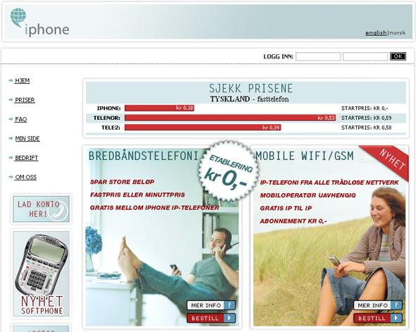 NORSK: iPhone AS  selger telefonabonnementer på www.iphone.no.
