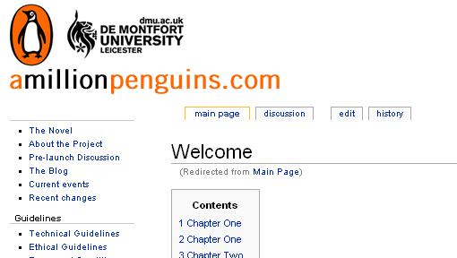 <b>WIKI: </b> Faksimile fra Wiki-boken «A Million Penguins».