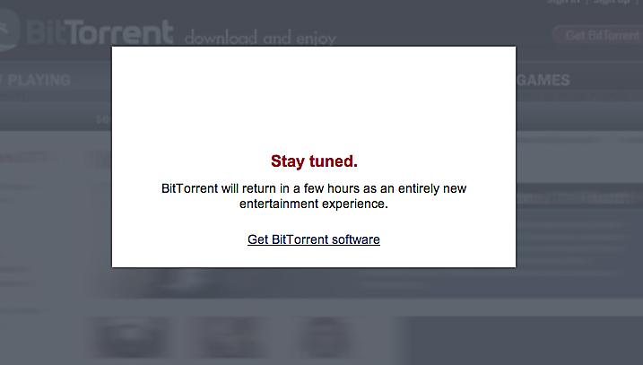 Dette skiltet møtte BiTorrent-brukerne i formiddag.