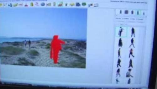 Her ser du hvordan figuren plasseres i forhold til landskapet i bildet. Perspektivet tar Microsofts nye programvare seg av.