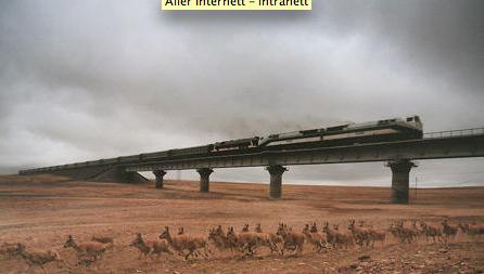 Det kinesiske pressebyrået Xinhua ble avslørt da de publiserte dette bildet, der løpende antiloper er manipulert inn i et bilde av et tog.