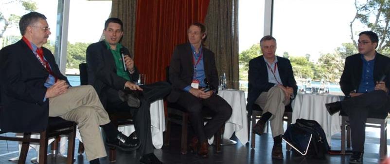 Fra venstre: Larry Magid, Harry McCracken, John Biggs, Thomas Ricker og Eric Lundquist.