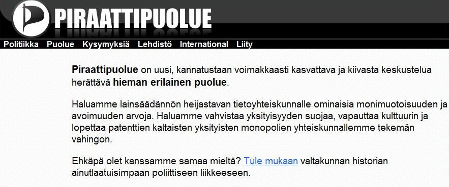 Piratpartiet - nå også i Finland.
