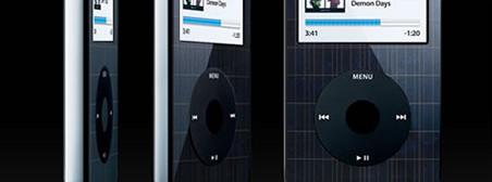 Slik kan en framtidig iPod kanskje komme til å se ut. Men den blir trolig penere, for Apple vil legge solcellepanalet under overflaten, slik at det blir usynlig.