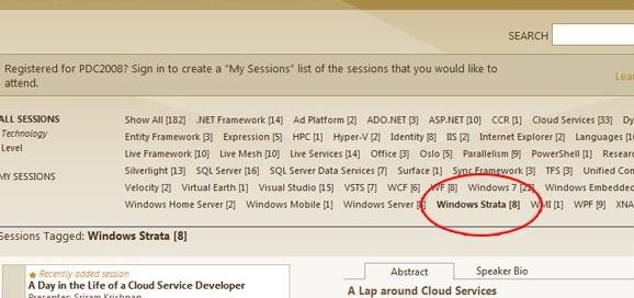 «Windows Strata» brukes i agendaen til Microsoft-konferansen PDC2008.