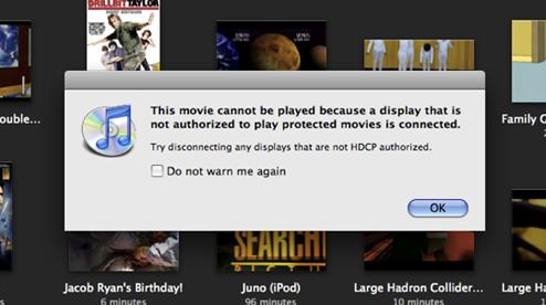 Irriterende beskjed å få når man har kjøpt en film lovlig via iTunes.