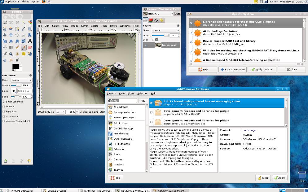 Fedora har et enkelt og rent grensesnitt og en enkel pakkebehandler.