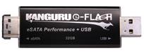 Denne minnepinnen kan kobles både i USB-porten og eSata-porten.